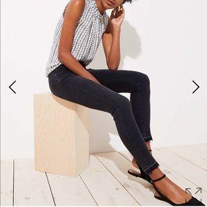 Loft Modern Skinny Front Seam Black Denim Jeans 0P